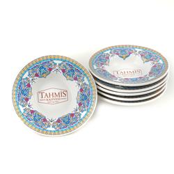Tahmis - 6'lı Porselen Osmanlı Motifli Çay Bardak Tabağı Altı Seti MS002