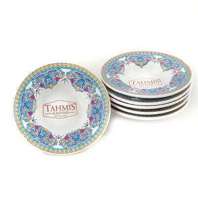 6'lı Porselen Osmanlı Motifli Çay Bardak Tabağı Altı Seti MS002