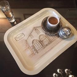 Tahmis - Metal Dekoratif Çay & Kahve Sunumluk Servis Tepsisi Diktörtgen